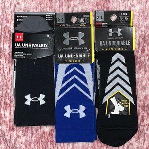 NWT New Adidas & UA Crew Socks Lot Size M & L
